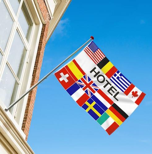 Hotel flernasjonersflagg med 12 nasjoners
