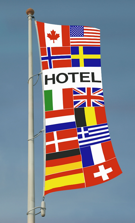 Hotel flernasjonersflagg med 14 nasjoners