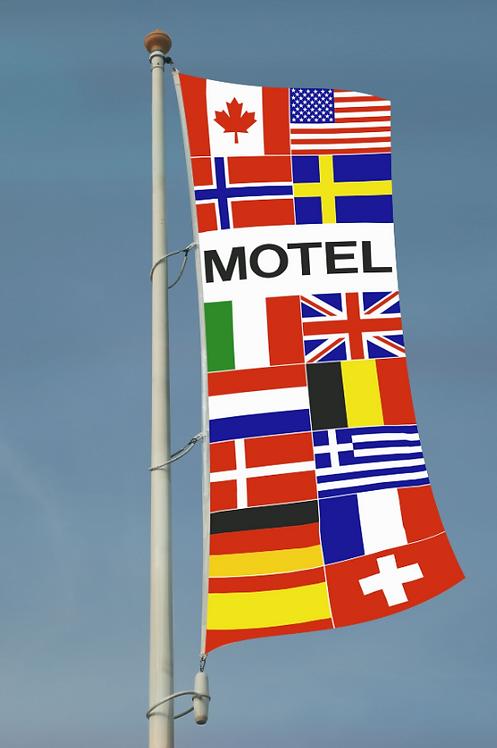 Motel flernasjonersflagg med 14 nasjoners