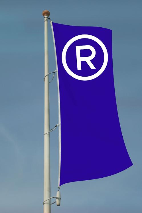 Restaurant høydeflagg blå