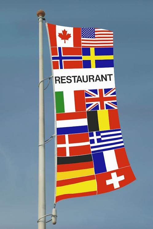 Restaurant flernasjonersflagg med 14 nasjoners