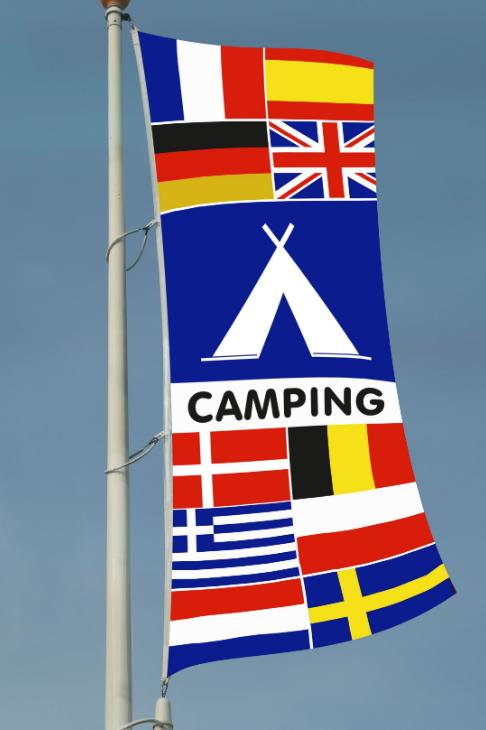 Camping flernasjonersflagg med 10 nasjoners