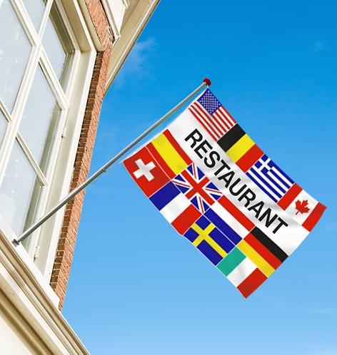 Restaurant flernasjonersflagg med 12 nasjoners