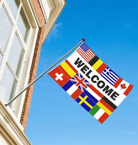 Welcome flernasjonersflagg med flere nasjoners