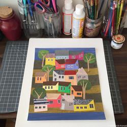 Cecile Kranzer Paper Collage Art WIP