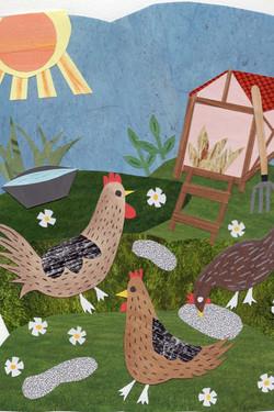 Poultry | Paper Collage Illustration ©Cécile Kranzer