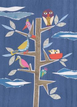 Birds I Paper Collage Illustration ©Cécile Kranzer