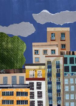 City | Paper Collage Illustration ©Cécile Kranzer