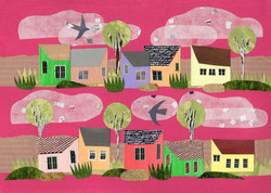 Stay Home | Paper Collage Illustration ©Cécile Kranzer