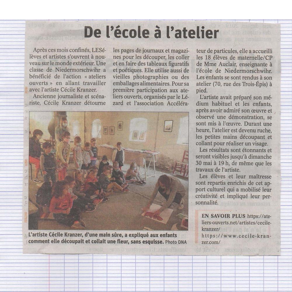 Extrait de presse d'un article sur un atelier réalisé avec des enfants à Niedermorschwihr