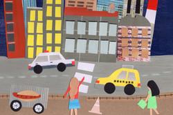 Taxi | Paper Collage Illustration ©Cécile Kranzer