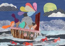 In the same boat | Paper Collage Illustration ©Cécile Kranzer