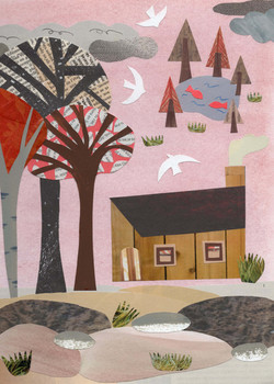 Cabin in the woods | Paper Collage Illustration ©Cécile Kranzer