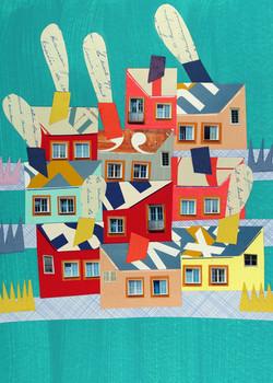 Houses | Paper Collage Illustration ©Cécile Kranzer