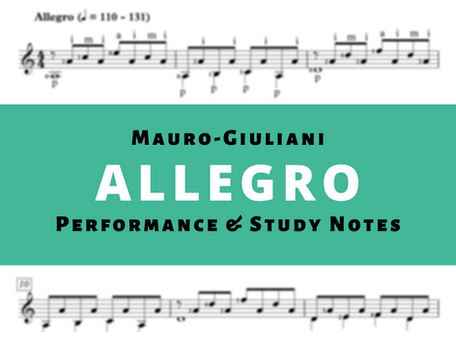 Study Notes and Classical Guitar Lesson For Allegro Op. 50 No. 13 by Mauro Giuliani