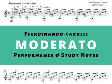 Study Notes and Classical Guitar Lesson For Moderato by Ferdinando Carulli