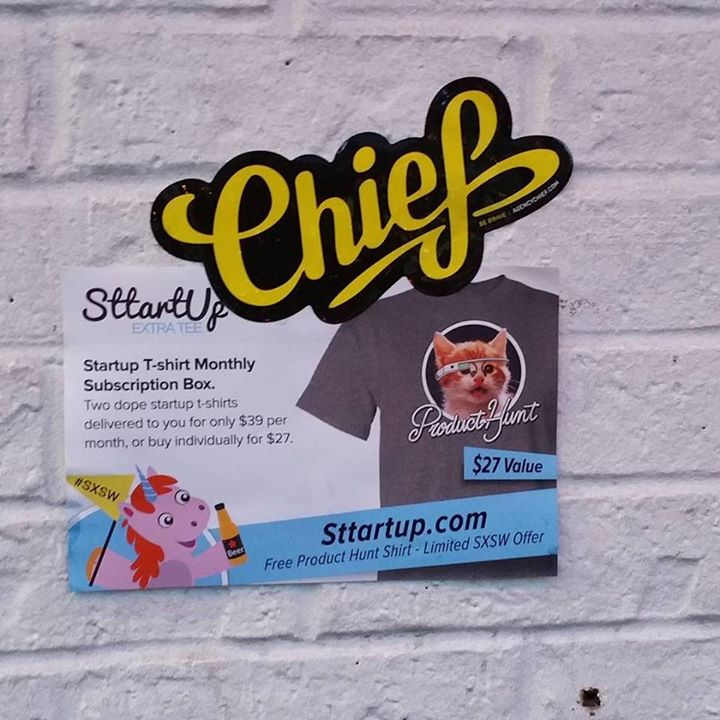 Get t-shirts sent to your door step each month!! # sttartup #sxsw #interactive