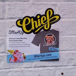 Get t-shirts sent to your door step each month!! # sttartup #sxsw #interactive