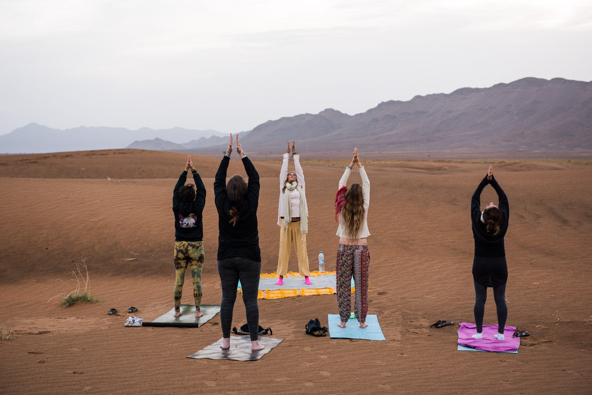 sunrise yoga zagora desert morocco