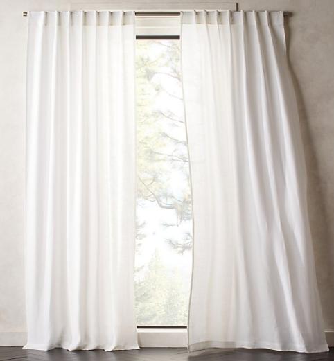 Heavyweight White Linen Curtain