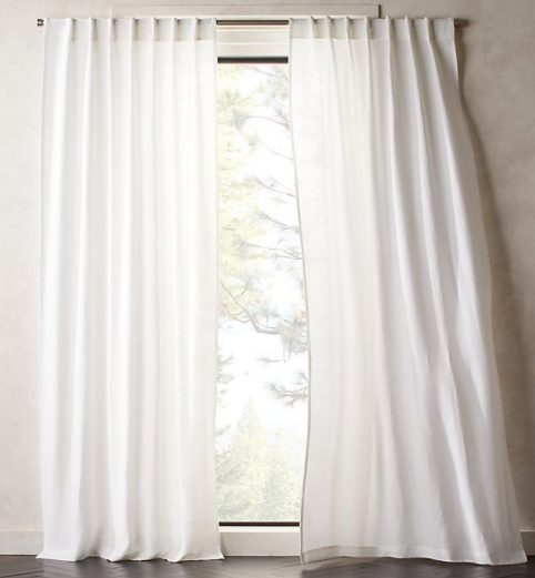 Heavyweight White Linen Curtain
