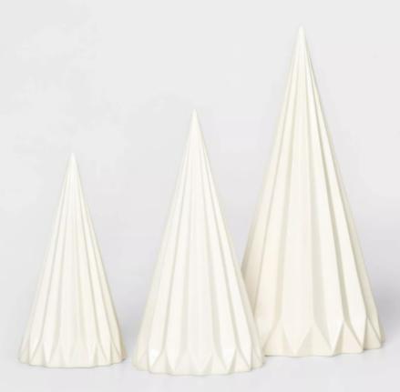 Large Cone Christmas Tree Decorative Figurine White