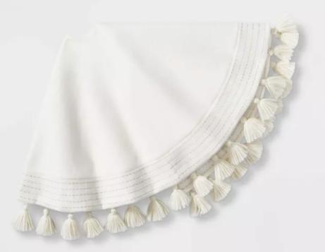 Felt Metallic Stripe Tree Skirt Cream with Tassels