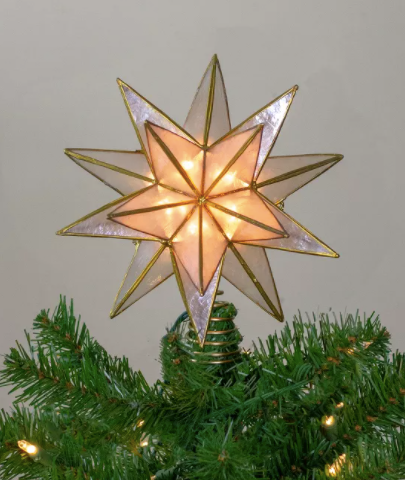 """10"""" Lighted Gold and Clear Capiz Star Christmas Tree Topper"""