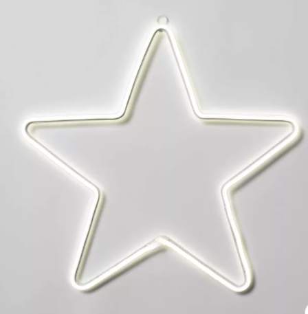 Christmas LED Faux Neon Star Novelty Silhouette Lights Pure White