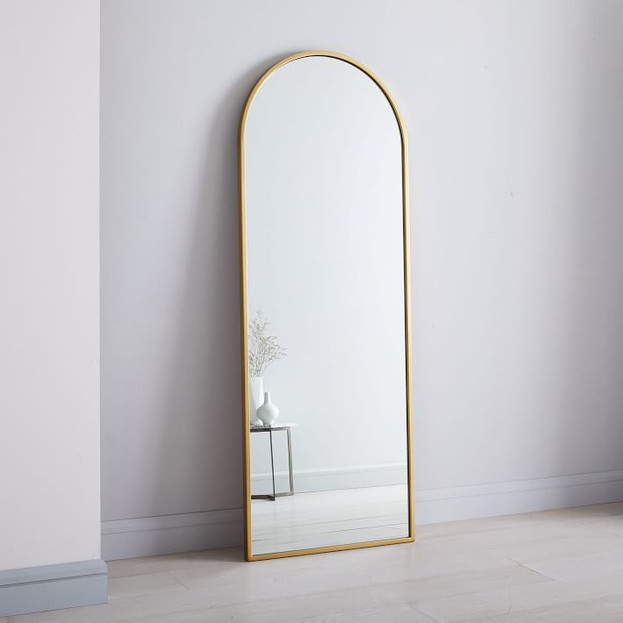 "Metal Frame Arched 74"" Floor Mirror"
