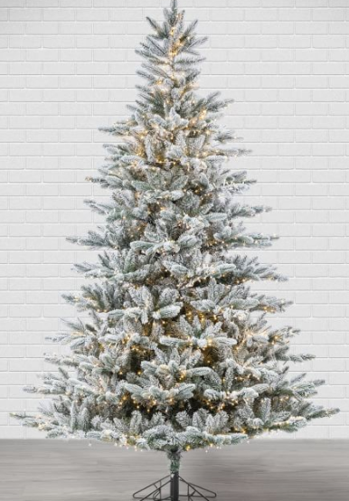 7.5ft Pre-Lit Flocked Redwood Pine Artificial Christmas Tree