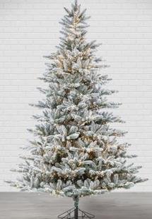 7.5ft Pre-Lit Flocked Redwood Pine Artificial Christmas Tree