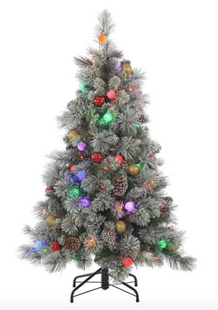 4.5ft Pre-Lit Multi-Colored Flocked Pine Artificial Christmas Tree