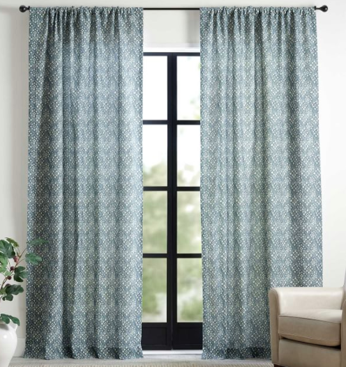 Leada Print Linen/Cotton Rod Pocket Curtain - Blue Multi