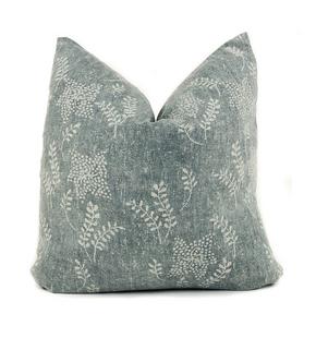 Greenish Blue Floral Pillow