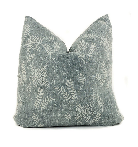 Greenish Blue Floral Pillow