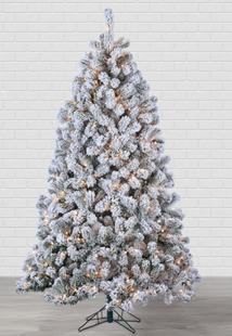 7ft Pre-Lit Flocked Montana Pine Christmas Tree