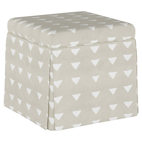 Neutral Skirted Ottoman