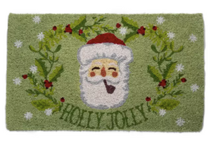 Holly Jolly Merry Santa Claus Christmas Doormat