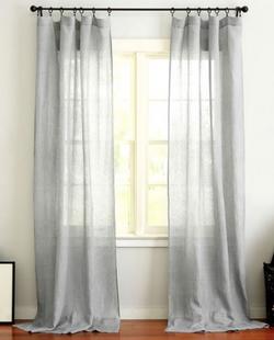 Belgian Flax Linen Rod Pocket Sheer Curtain - Gray