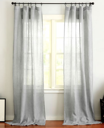 Belgian Flax Linen Rod Pocket Sheer Curtain - Gray