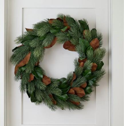 Faux Pine & Magnolia Wreath
