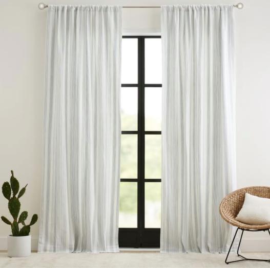 Hawthorn Striped Cotton Rod Pocket Curtain - Blue