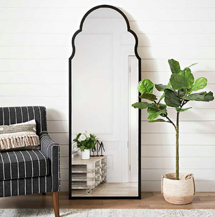 Black Arched Floor Mirror