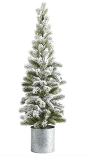 3 ft. Flocked Christmas Artificial Pine Tree in Tin Planter