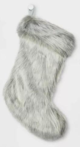 Faux Fur Christmas Stocking Gray