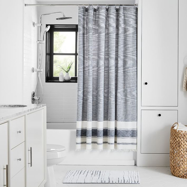 Organic Variegated Stripe Shower Curtain