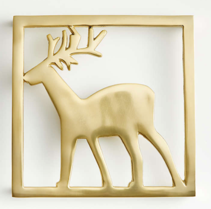 Gold Metal Reindeer Trivet