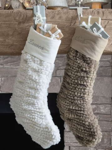 Honeycomb Faux Fur Personalized Stockings