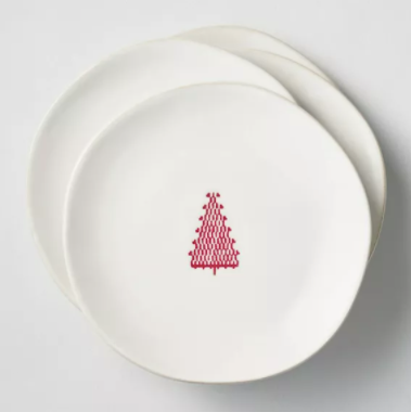 Red Tree Imprinted Appetizer Plate Sour Cream